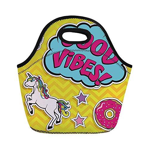 Good Vibes Durable Lunch Bag,Fantastic Colorful Fun Design Cute Magic Unicorn Speech Bubble Stars and Donut Decorative for School Office,11.0