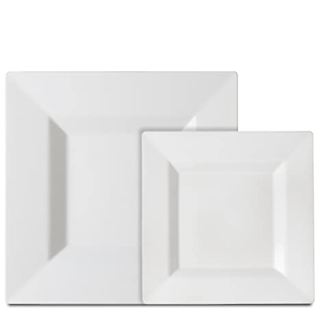 Premium 40 Pack White Square Plastic Plates - Includes 20 Dinner Plates and 20 Salad Plates  sc 1 st  Amazon.com & Amazon.com: Premium 40 Pack White Square Plastic Plates - Includes ...