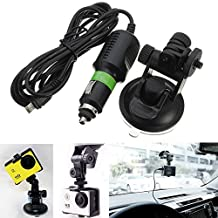 BephaMart Suction Cup Windshield Mount Holder with Car Charger For GoPro Hero 3 3 Plus 4 Session XiaoMi Yi SJ4000 SJ5000 SJ6000 SJcam Shipped and Sold by BephaMart
