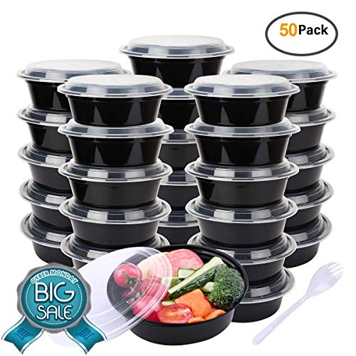 Maredash 34 oz Meal Prep Containers, Food Storage Containers with Airtight Black Lids And Fork Spoon,Lunchbox,Ruseable Meal Prep Containers,Microwaveable And Freezer(50-Pack)