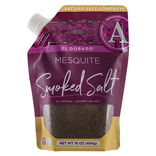 - SaltWorks El Dorado Mesquite Smoked Sea Salt, Pour Spout Pouch, 16 Ounce