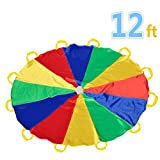Kids Game Play Parachute, KINDEN Play Tents Sports Parachute 12' with 12 Handles Indoor&Outdoor(12 feet)