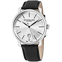 Ascot Mens Designer Watch - Swiss Quartz Silver Dial Date Wrist Watch for Men - Stainless Steel Analog Watch with Black Leather Strap 768.01