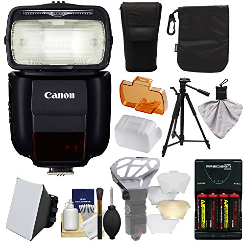 Canon Speedlite 430EX III-RT Flash with Softbox + Bounce Diffuser + Batteries/Charger + Tripod Kit for Rebel T6, T6i, T7i, T6s, EOS 77D, 80D, 7D, 6D, 5D Mark II III IV, 5Ds R by Canon