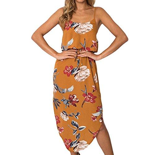 tamaño Espagueti Boho Largo Mujeres de Color Dobladillo de Dobladillo Mangas Yellow sin Vestido Correa Irregular S Floral Partido Las TxFfw5qB
