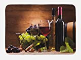 grape bath mat - Wine Bath Mat by Ambesonne, Glasses of Red and White Wine Served with Grapes French Gourmet Tasting, Plush Bathroom Decor Mat with Non Slip Backing, 29.5 W X 17.5 W Inches, Brown Ruby Pale Green