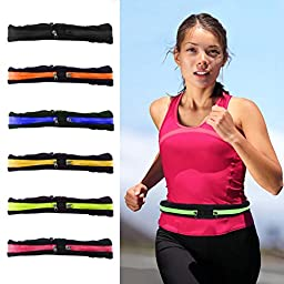 Dual Pockets Fitness Running Fitness Belts - Expandable & Water Resistant Pockets - Fits Most Phones - Adjustable and Stretchable Waistband - Bounce-Free - Durable and Lightweight (6pcs Mixed Colors)