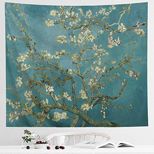 IcosaMro Van Gogh Tapestry Wall Hanging, Almond Blossom Nature Plant Floral Wall Art [Double-Folded Hems] Rustic Wall Home Decor for Bedroom, Dorm, College, Living Room, 51x60