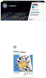 HP 508A Cyan Toner + HP Flyer Paper, Glossy, Laser, 150 Sheets, 11 x 17