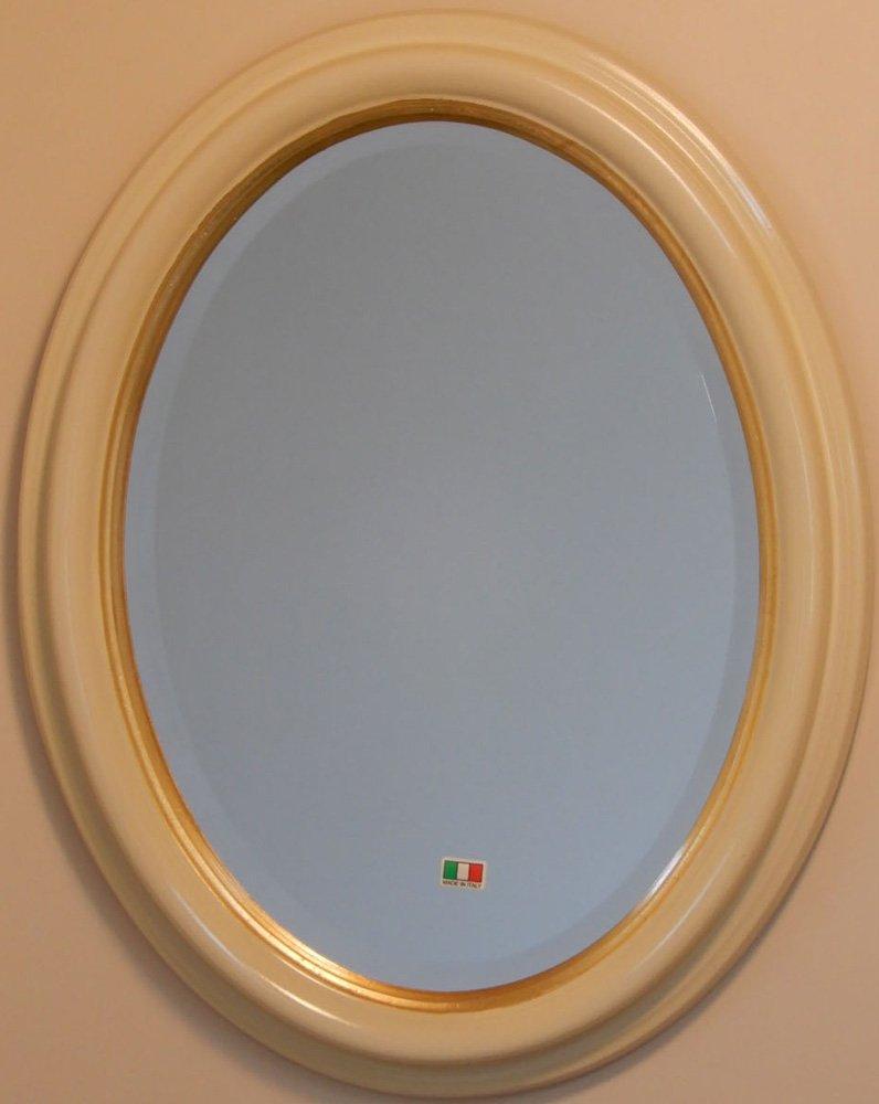 イタリア製 JHAアンティーク風水ミラー オーバル シンプル (アイボリー&ゴールド)楕円W365×H463(S) IE-65 (デラックス:面取り加工)壁掛け鏡 ウォールミラー B01K26UR8G アイボリー&ゴールド アイボリー&ゴールド