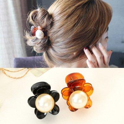 usongs Europe and fashion headwear girls hair accessories flowers large pearl black amber elegant hairpin - Flower Amber Pin