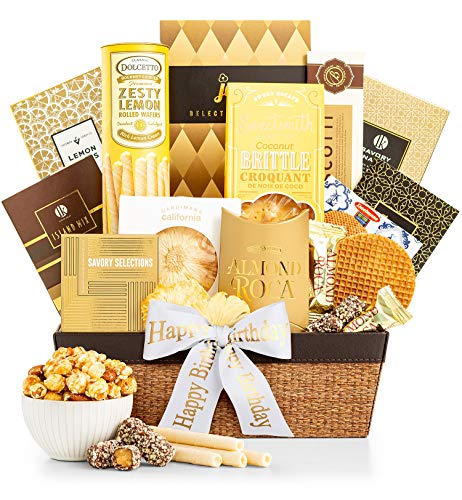 GiftTree Happy Birthday As Good As Gold Gift Basket | Includes Almond Roca, Caramel Toffee Popcorn, Peanut Brittle & More | Celebrate Their Special Day