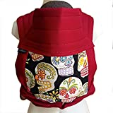 BabyHawk Meh Dai (Mei Tei) Baby Carrier- Black Calaveras on Cherry Straps