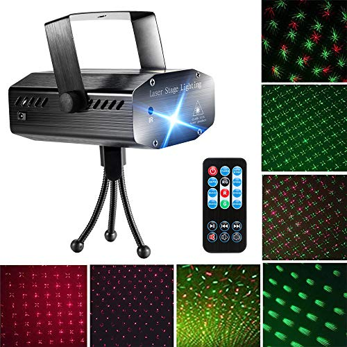 Blingco Party Laser Lights DJ Disco Strobe Light, Mini LED Stage Dance Lights Sound Activated for DJ Disco Christmas Party Home Show Birthday Bar Club Wedding Party Lighting with Remote Control ()