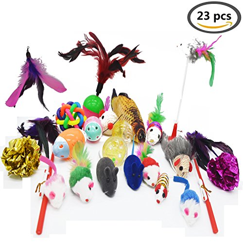 Cat Toys 23 Pack Feather Wand Play Mice Balls Interactive Teaser Wands Sisal Scratching Fish Mylar Crinkle Balls Cat Fishing Pole Simulation Plush Fish Shape Toy Refills Feathers Cat Jingle Bell