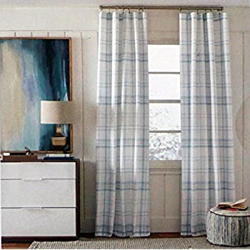 tommy hilfiger window curtain panels 50 inches by 84 inches set of 2 light blue plaid - Blue And White Window Curtains