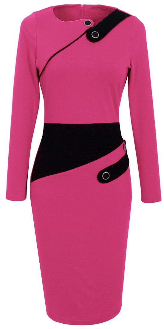 HOMEYEE Women's Voguish Colorblock Wear to Work Pencil Dress B231 (10, Pink)
