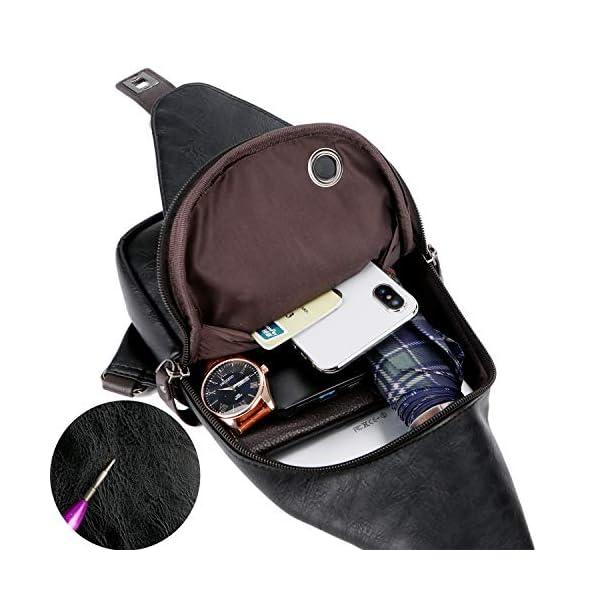 Alena Culian Sling Backpack Men Leather Chest Bag Crossbody Shoulder Bag For Men(black) 18