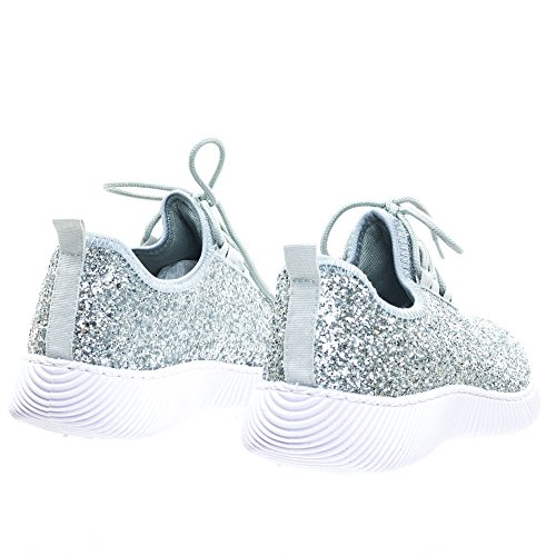 Forever Link Damen REMY-18 Glitter Fashion Sneakers H-Silber