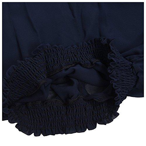 TOOGOO (R)Col en V des femmes semi-transparent Pull en mousseline de soie a manches longues eveque Chemisier bleu fonce XL