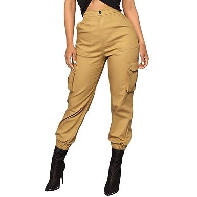 AMUSTER Sarouel Femme Salopette Multi-Poches Pantalon de survêtement à  Coutures rayées Femme Pantalon de a2f52bac108
