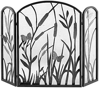 YYR 3-パネル錬鉄メッシュ暖炉スクリーン、リビングルームのホームインテリアブラックのための金属メッシュカバー付きソリッド赤ちゃん安全な暖炉フェンス