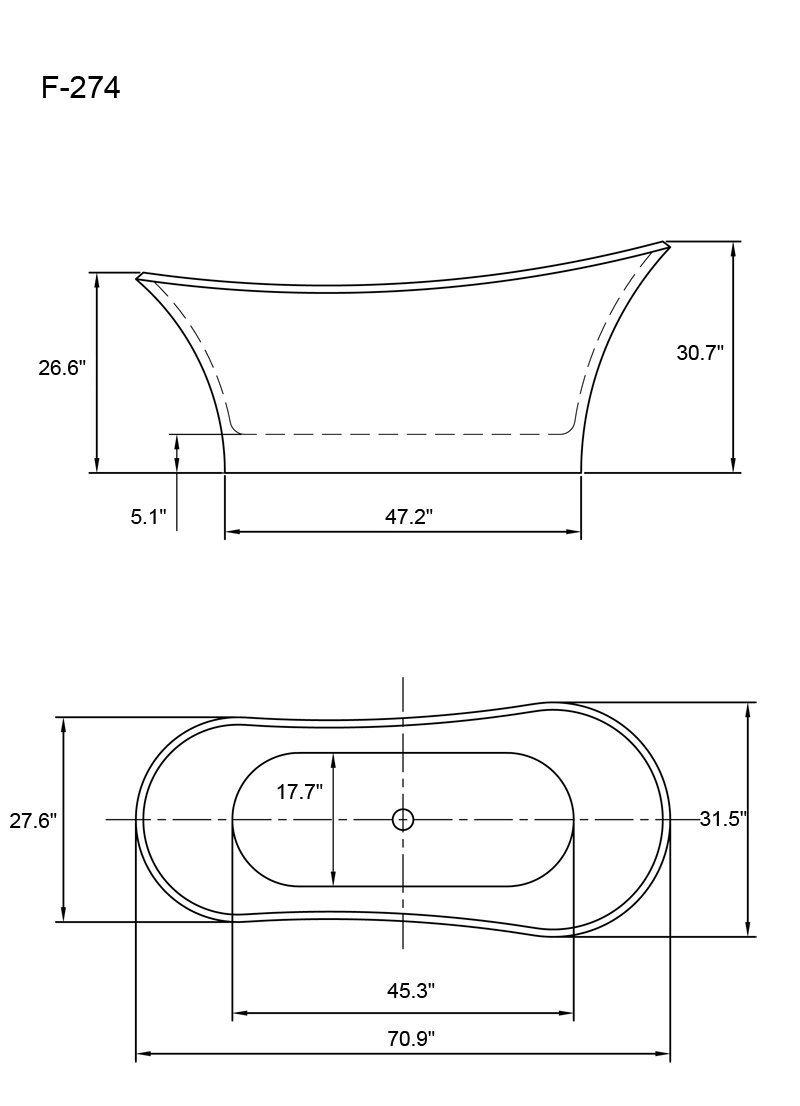 free standing tub dimensions. AKDY AZ F274 Bathroom Freestand Acrylic Bathtub  White Color Free Standing Amazon com