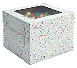 W PACKAGING WPCKB108PB 10x10x8 White/Kraft Party Print 8'' Deep Cake Box W/Window, E-Flute (Pack of 25)