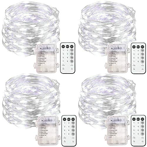 4 Set Fairy Lights Battery Operated String Lights, Upgraded Waterproof 8 Modes 20ft 60 LED Silver Wire Lights with Remote Timer, Twinkle Firefly Lights for Bedroom Wedding Party Decoration Cool White