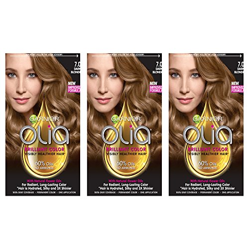 - Garnier Olia Ammonia-Free Brilliant Color Oil-Rich Permanent Hair Color, 7.0 Dark Blonde (3 Count) Blonde Hair Dye (Packaging May Vary)