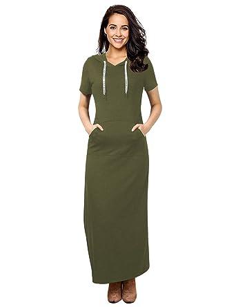 d14ba98a5 GloryStar Women Long Sleeve Pullover Stripe Pocket Slim Sweatshirt Casual Hoodie  Dress Hooded Sweater Dresses (
