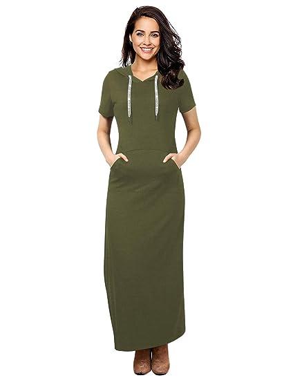 04a22a6051b GloryStar Women Long Sleeve Pullover Hoodie Dress Stripe Pocket Ankle  Length Slim Sweatshirt Casual Hooded Sweater Dresses