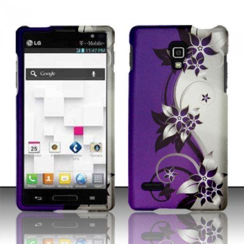 Bundle Accessory for T-Mobil LG Optimus L9 P769 / P760 - Pueple Vine Designer Hard Case Protector Cover + Lf Stylus Pen + Lf Screen Wiper (Lg P769 Cell Phone Battery)