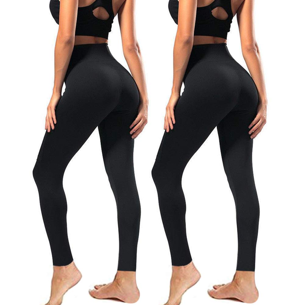 High Waisted Leggings for Women - Soft Athletic Workout Pants - Reg & Plus Size (Black02, One Size (US 2-12))