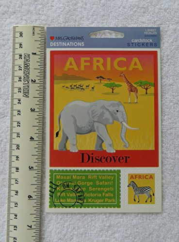 Mrs Grossman DESTINATIONS, AFRICA Giant Cardstock Sticker Sheet supply:littlebootsback