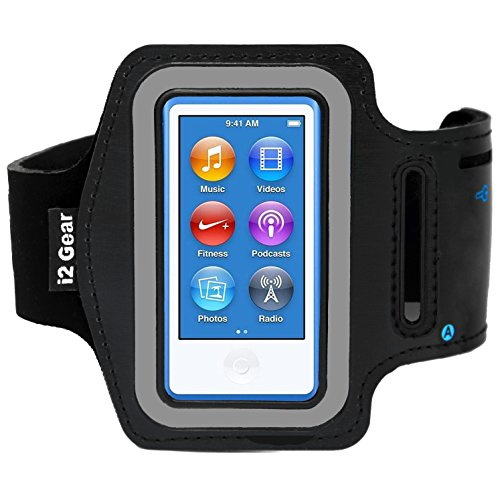 i2 Gear Running and Exercise Workout Armband Compatible with iPod Nano 8th and 7th Generation Devices with Adjustable Arm Band, Reflective Border, Touch Screen Protection and Key Holder (Black)