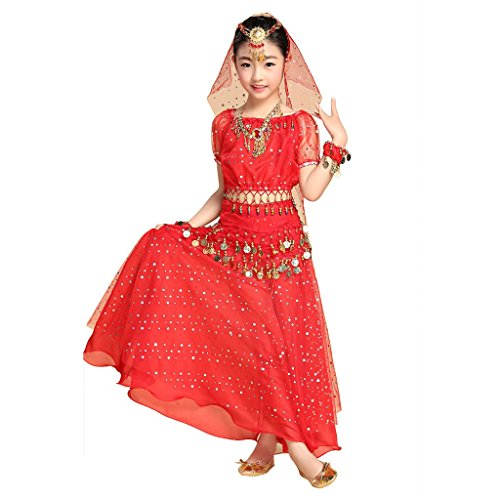 [Pilot-trade Kid Elegant Belly Dance Costume Set Outfit Shiny Top Skirt Hip scarf Red] (Red Belly Dancer Costume)