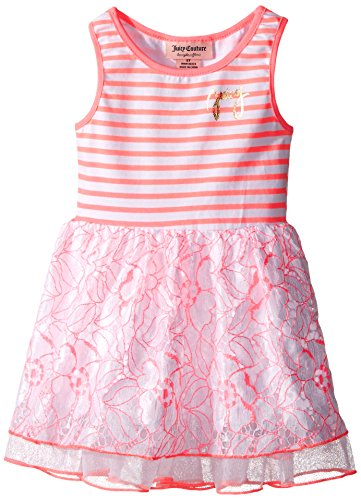 Juicy Couture Little Girls' Toddler Stretch Jersey Stripe Dress with Lace and Mesh on Skirt, Multi, 3T