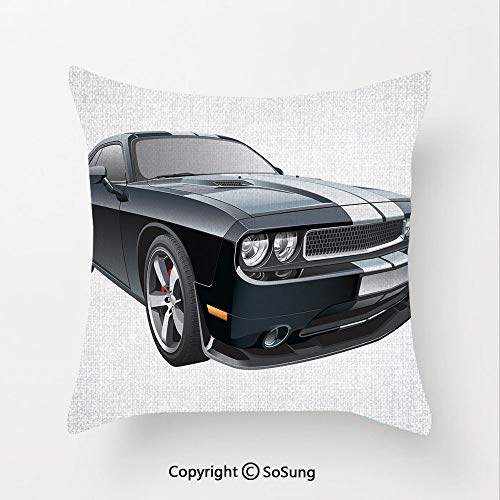 SoSung Cars Linen Throw Pillow Cushion,Black Modern Pony Car with White Racing Stripes Coupe Motorized Sport Dragster,15.7x15.7Inches,for Sofa Bedroom Car & Home Decorate Black Grey White