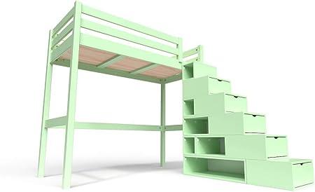 ABC MEUBLES - Cama Alta Sylvia con Escalera Cubo - Cube - Verde Pastel, 90x200: Amazon.es: Hogar
