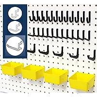 WallPeg 43 Pc. Peg Board Storage System - Pegboard Hook Assortment Organizer Bins Y/B # AM 302- 2 by WallPeg