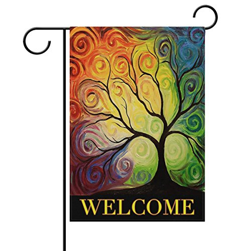 ALAZA Colorful Rainbow Tree Branch Double Sided Garden Yard Flag 12