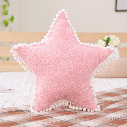 elfishgo Creative Star Moon and Cloud Plush Pillows Stuffed Toys (Pink, Star)
