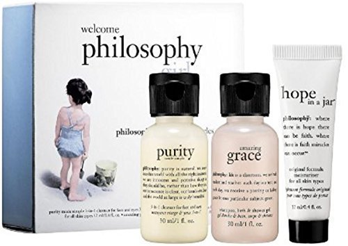 - NEW! Philosophy 3-piece Welcome Philosophy Girl Gift Set: amazing grace perfumed shampoo, bath & shower gel (1 oz) + Purity Made Simple one step facial 3-in-1 Cleanser for Face and Eyes (1 oz) + Hope in a Jar Original Formula For All Skin Types (0.4 oz)