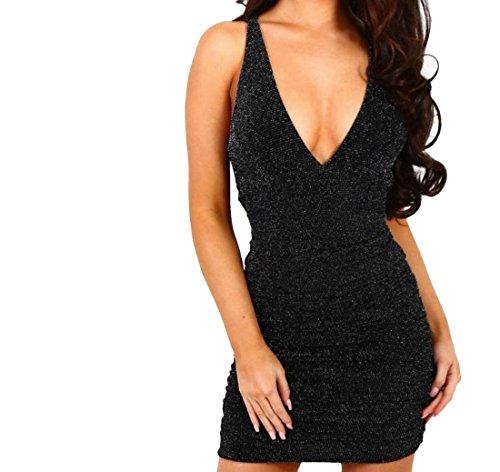 Comfort Party Stylish Solid Womens V Black Slim Neck Deep Dress Comfy XBw6F