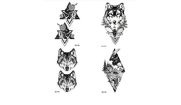 Negro Feroz Lobo Tatuaje Temporal Etiqueta de los Hombres ...