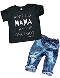 Baby Boy Clothes Sets Casual Letter T-shirt Top Tee + Denim Holes Pants Outfits