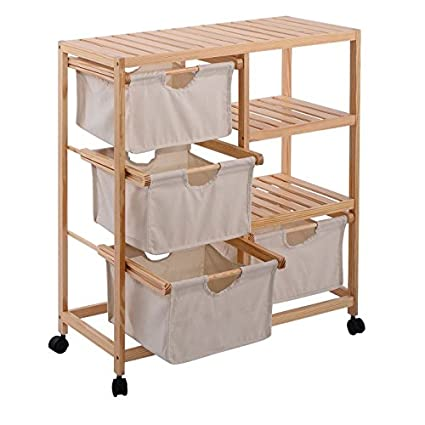 Rolling Storage Cart With Drawers 4 Fabric Compartments Mobile Organizer On Wheels W Wood Slatted Shelves Laundry Hamper Unit Bundle W Small