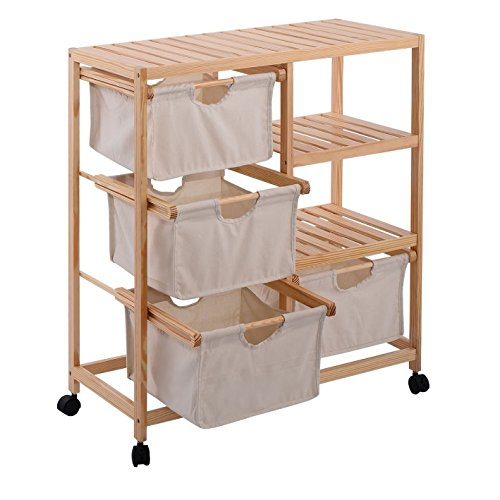Rolling Storage Cart With Drawers - 4 Fabric Compartments Mobile Organizer On Wheels w Wood Slatted Shelves - Laundry Hamper Unit Bundle w Small Storage Container (Storage Cart Canvas)