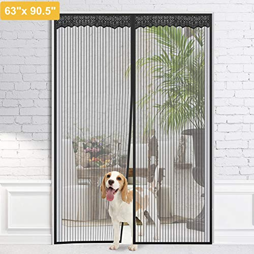- Homein Magnetic Screen Door Hands Free Black Magnet Mesh Curtain with Full Frame Hook Magnetic Mosquito Net Adhesive Strips Insect Screen Door Fly Curtrtain for Doorway, Fits Door up to 60